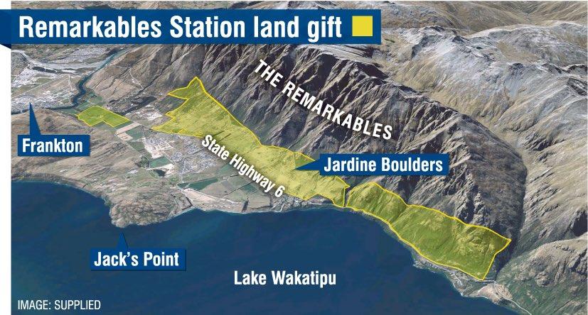 mapa da área doada na Nova Zelândia