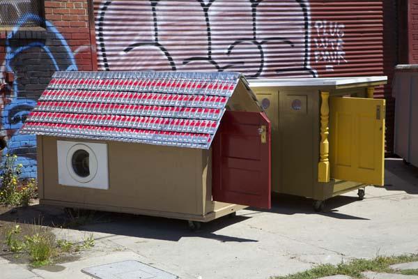 tiny homes construídas para os sem-teto