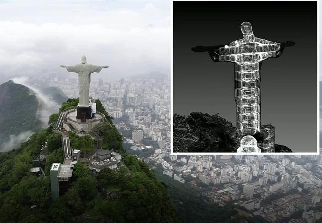 escaneamento do Cristo Redentor, no Rio de Janeiro feito por drones