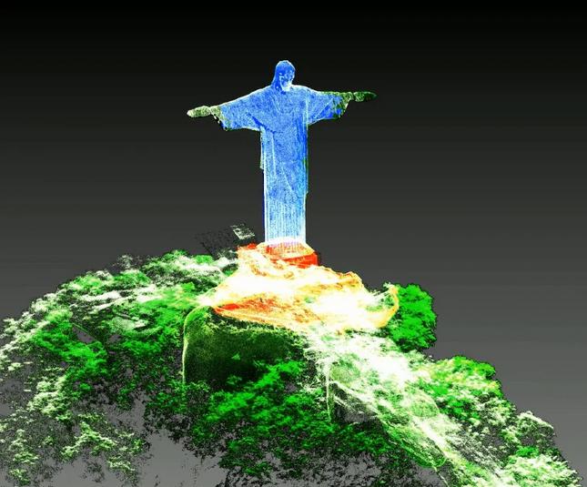 escaneamento do Cristo Redentor, no Rio de Janeiro