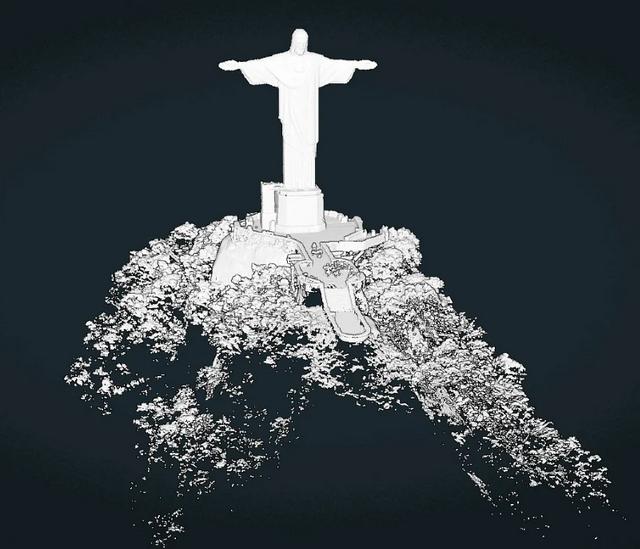 escaneamento do Corcovado, no Rio de Janeiro