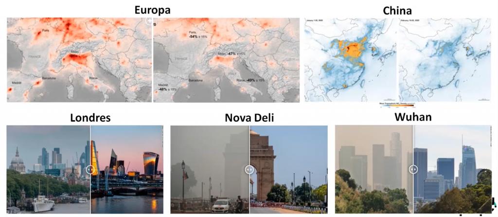 No topo da imagem é possível ver um mapa da Europa e China antes da pandemia, e depois da pandemia. Na qual ressalta a grande diferença entre os níveis de emissão de poluentes. Na parte de baixo, é possível perceber como as paisagens de Londres, Nova Deli e Wuhan mudaram com os baixos níveis de emissão.