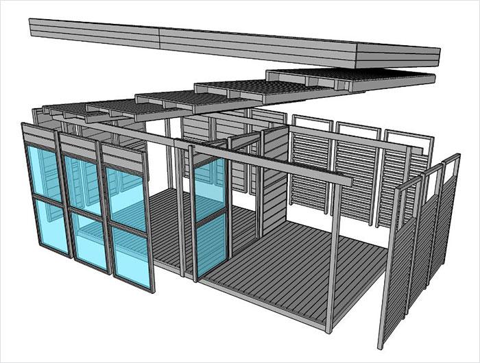modelo mini casa de quintal que pode ser construída em 8 horas