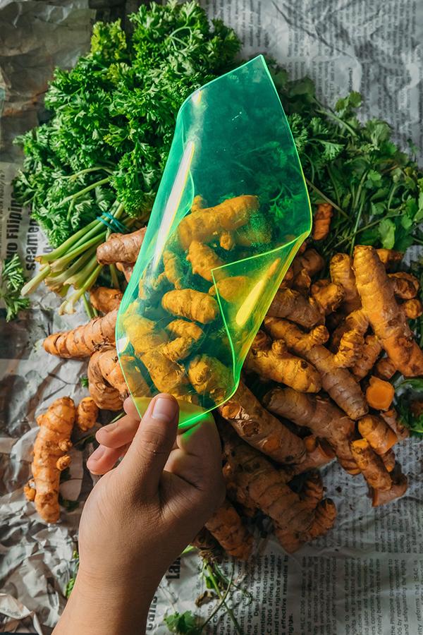 Imagem do painel com vegetais ao fundo
