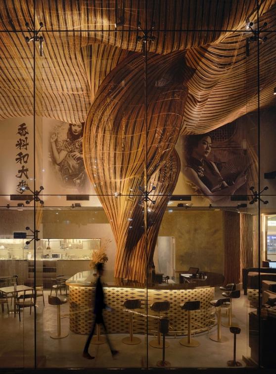 arquitetura do ambiente inspirada em servir uma cerveja