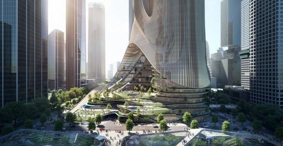 base da torre futurista
