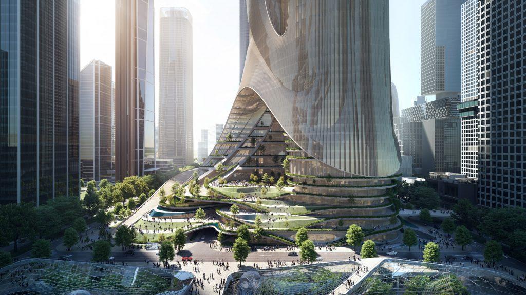 Torre futurista de base aberta na baía de Shenzhen promete revolucionar o futuro da arquitetura