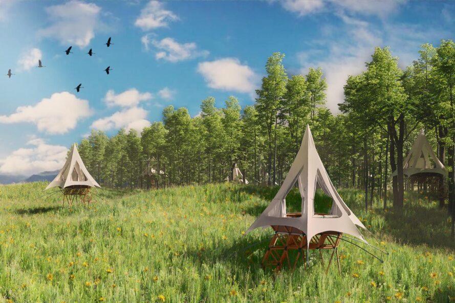 imagem ilustrativa de vila de casas na árvore