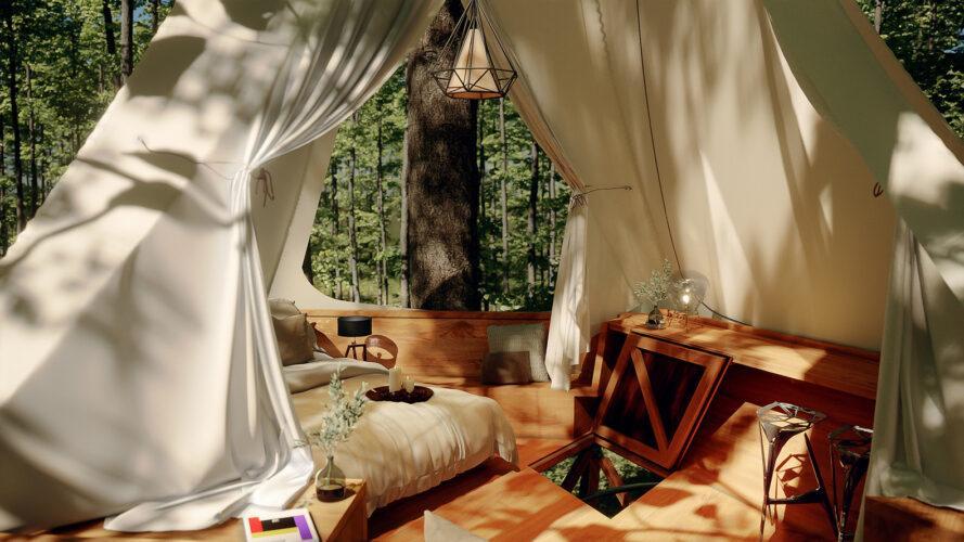 interior do projeto, mostrando cama