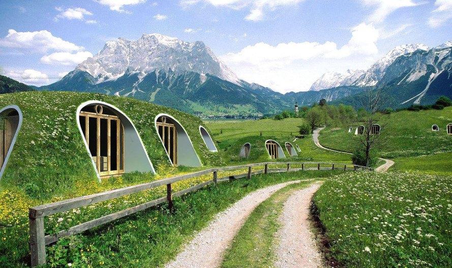 Casas hobbit com telhado verde construídas em até três dias