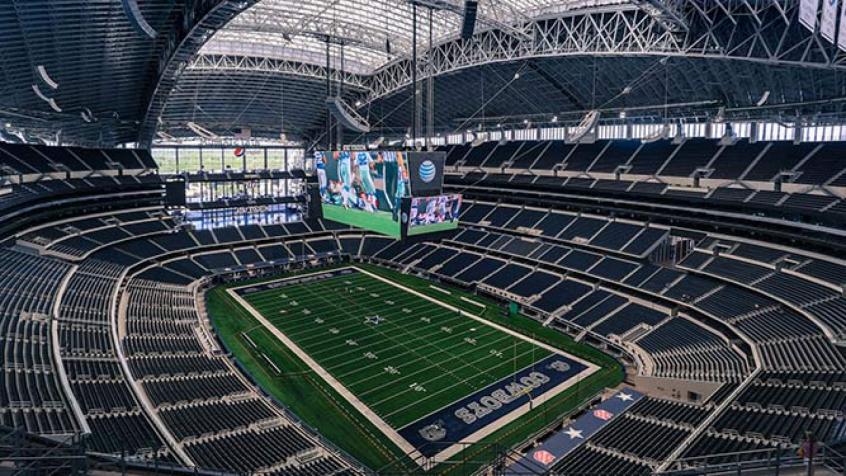 Imagem aérea do interior do AT&T Stadium