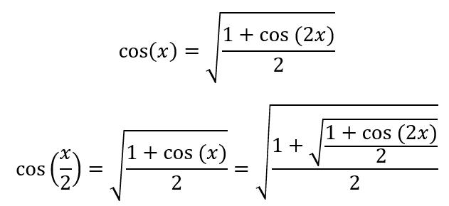 equação de cosseno de 2x para chegar a pi
