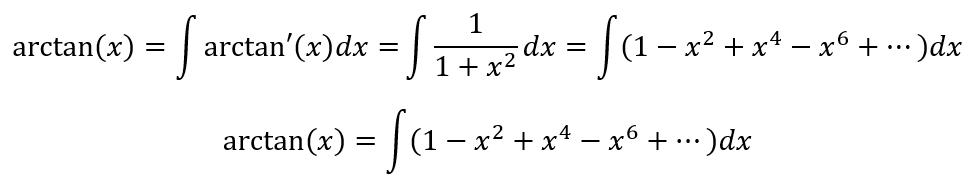 equação arco tangente de x para chegar a pi
