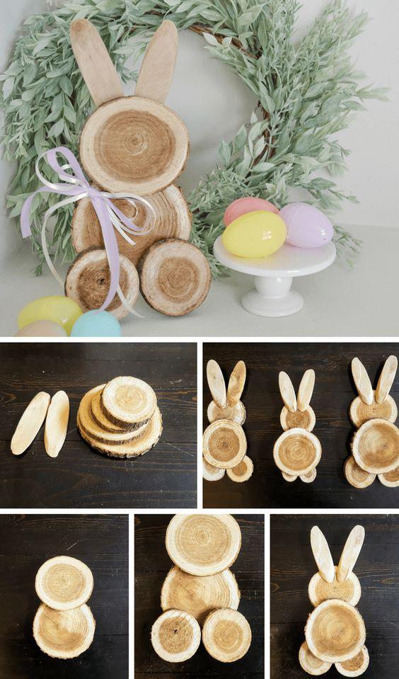 objetos de decoração páscoa coelho madeira