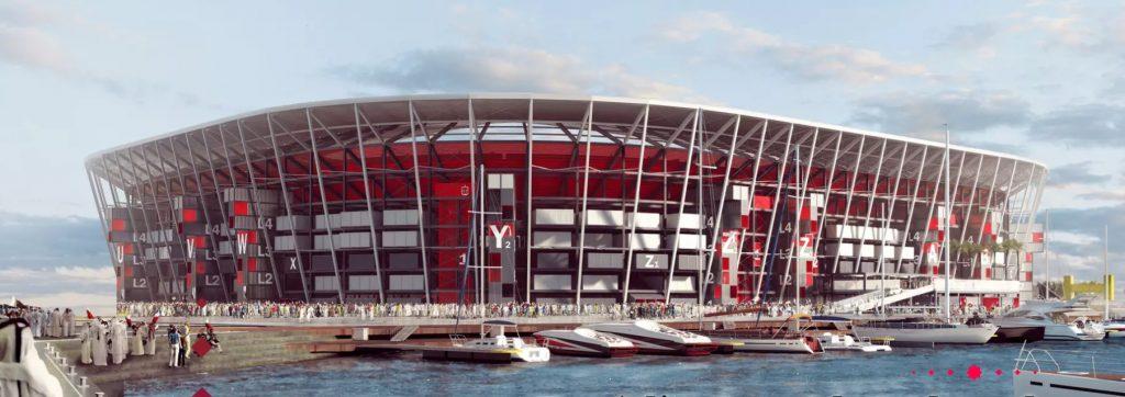 Imagem 3d da fachada do estadio ras abu