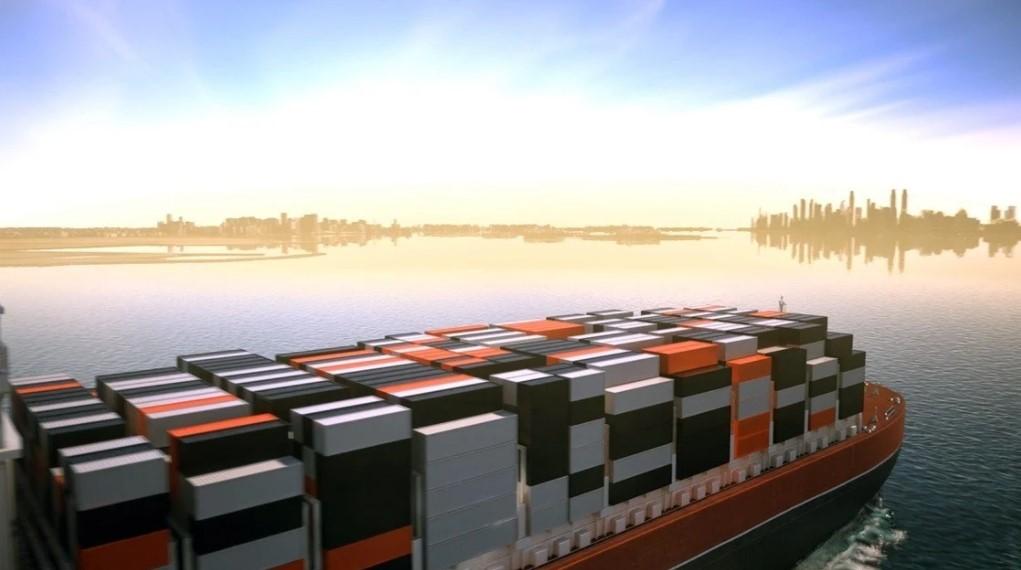 Imagem 3d de navio carregando conteineres para modulação do estádio ras abu