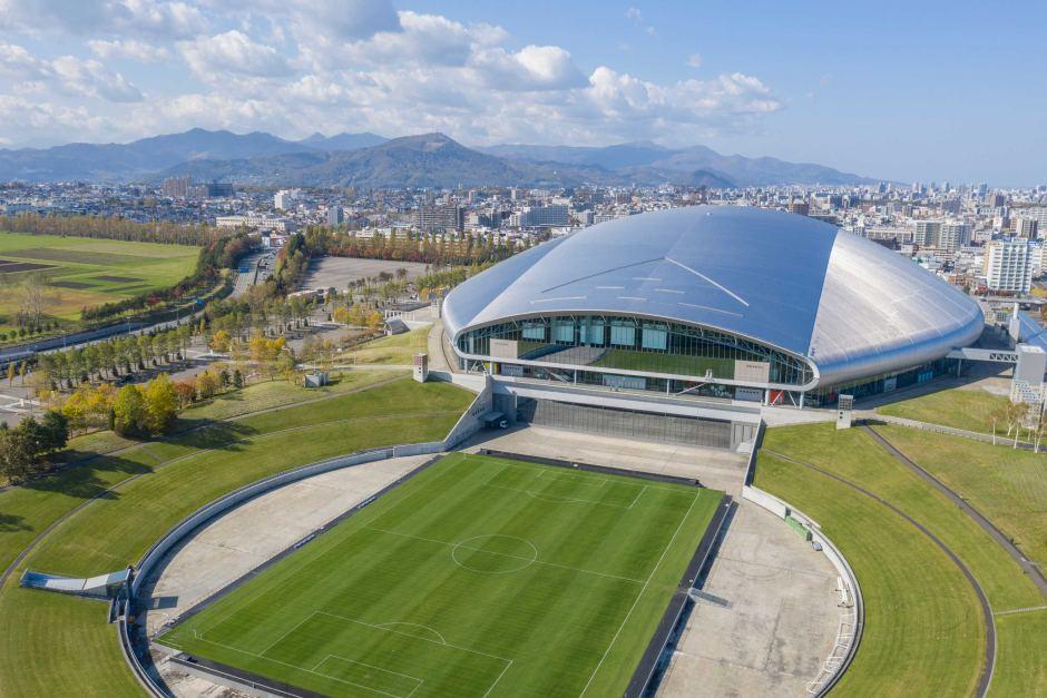 Imagem aérea da parte externa do Estadio Sapporo Dome