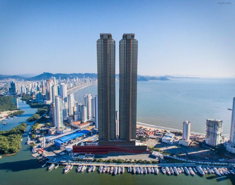 Fachada das torres do empreendimento yachthouse
