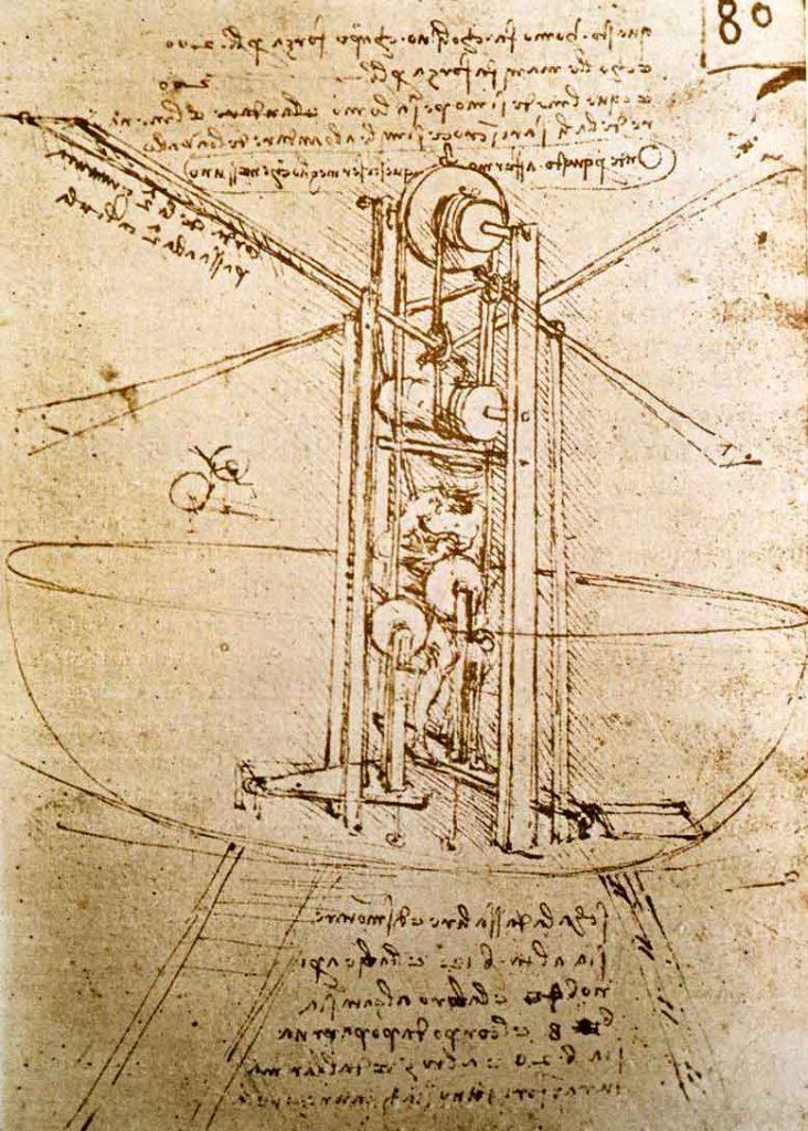 Maquina Voadora idealizada por Leonardo da Vinci