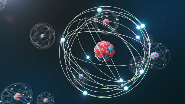 Modelo atômico com núcleo positivo orbitado por elétrons negativos representando quântica