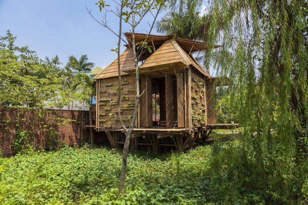 casas flutuantes de bambu