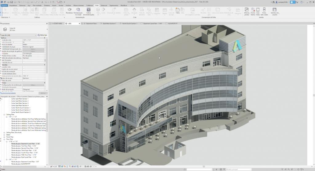 print de tela software de engenharia com projeto aberto em computador