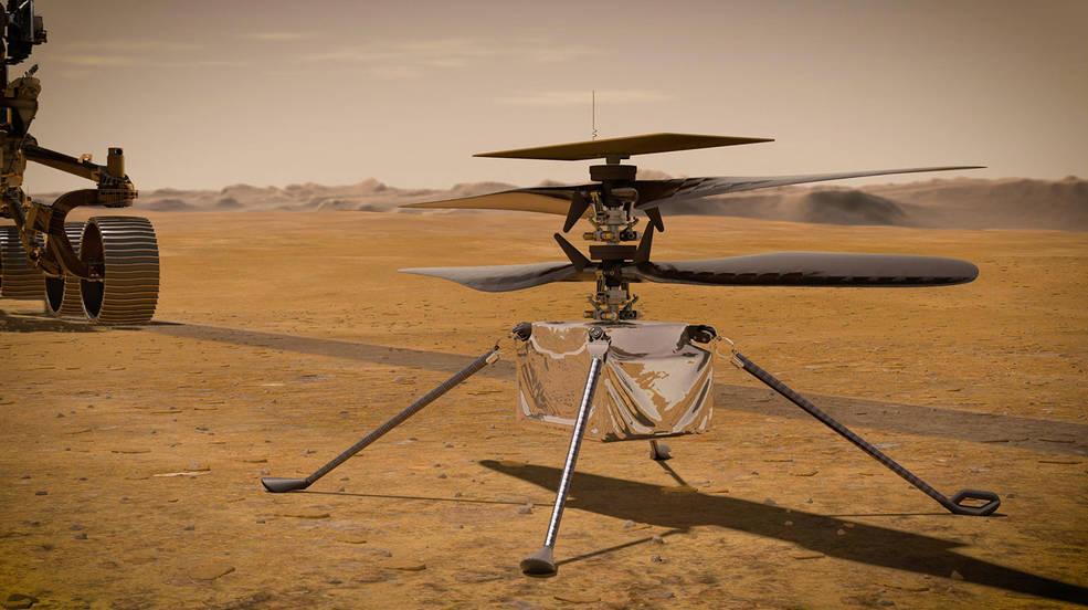 Pequeno robô helicóptero Ingenuity Mars - imagem do site oficial da NASA