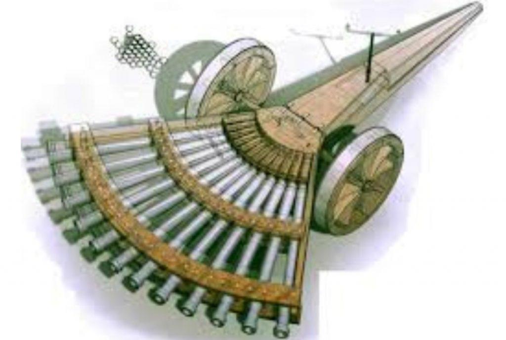 Imagem 3d de arma com multi canos idealizado por leonardo da vinci