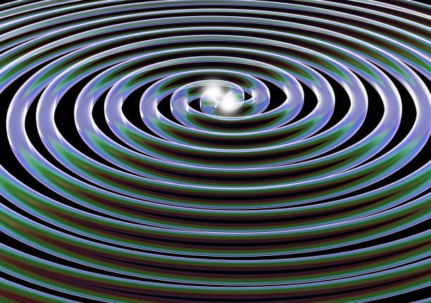 Representação artística de ondas gravitacionais ilustrando física Relativística