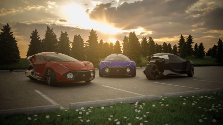 Três versões do carro de três rodas da Daymak, chamado Spiritus