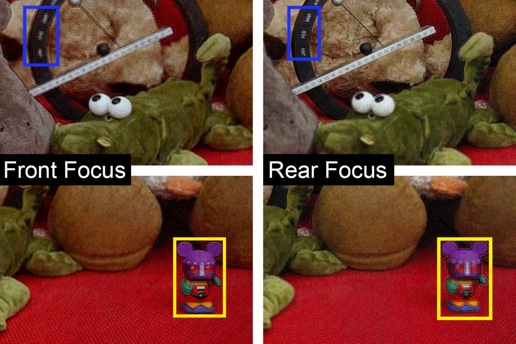 Demonstração de foco frontal (esquerda) e posterior (direita) de holograma