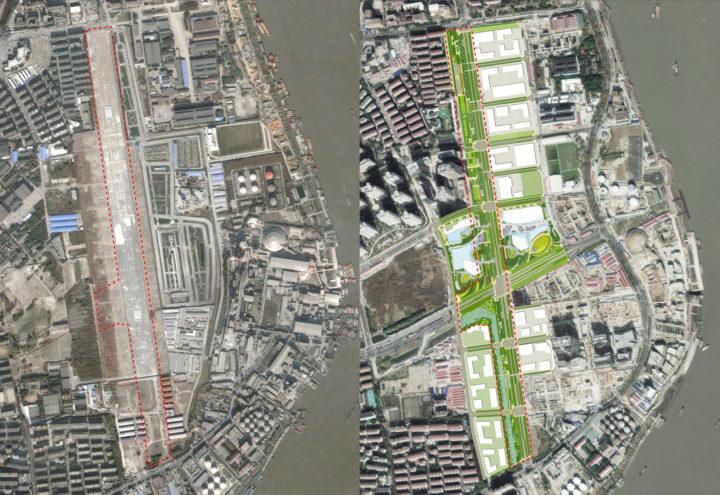 O projeto antes e depois da reforma, em foto de satélite.