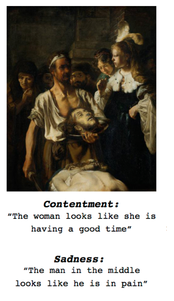 """Contentamento: """"A mulher parece estar se divertindo"""". Tristeza: """"O homem no meio parece estar com dor"""". Fonte: Futurity.org"""