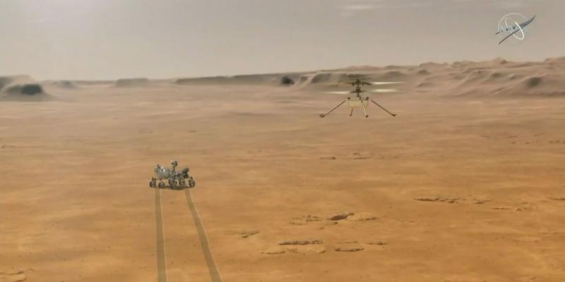 Helicóptero Ingenuity sobrevoa Marte.  Fonte: CNN Brasil.