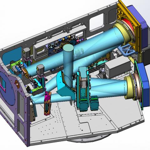 Estrutura responsável pela óptica adaptativa de um telescópio. Imagem: GMT