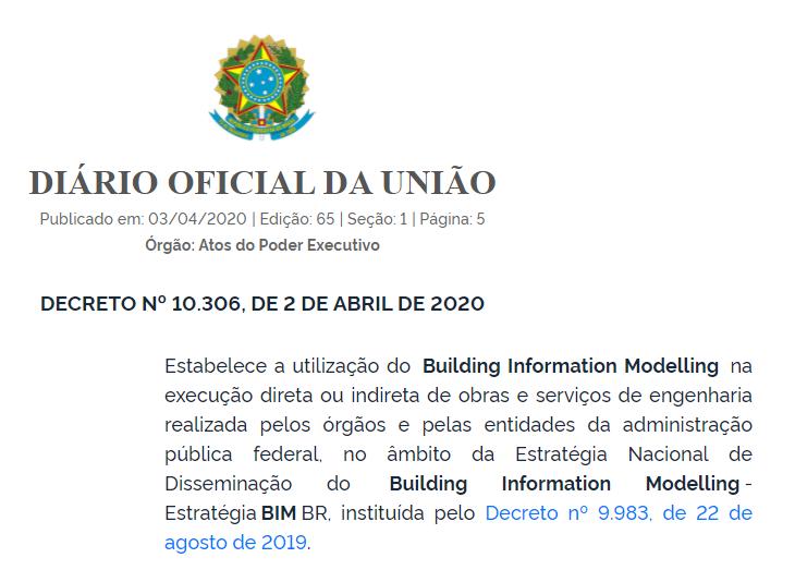 Decreto BIM - BIM obrigatório para obras públicas