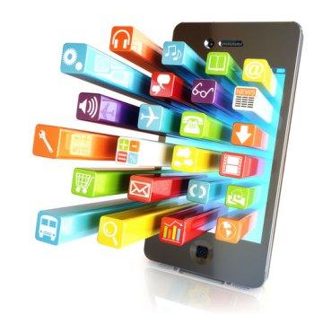 Imagem gráfica de celular com ícones saltando da tela, indicando diferentes aplicativos