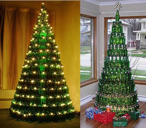 árvores de Natal engenharia feita com garrafas