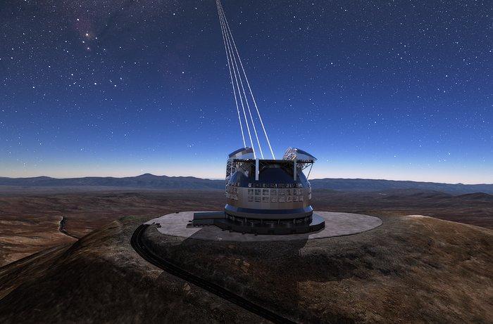 Projeção de como será o telescópio ELT no alto do morro