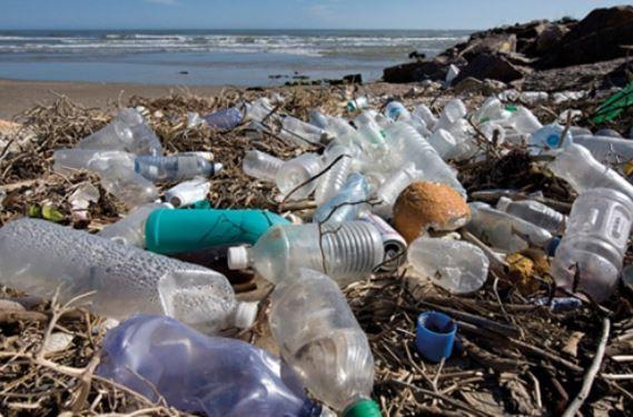 imagem de embalagens plásticas e lixo na praia - garrafas ecológicas