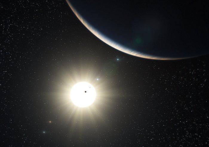 Imagem gráfica de planeta, à sombra de estrela luminosa, como o sol