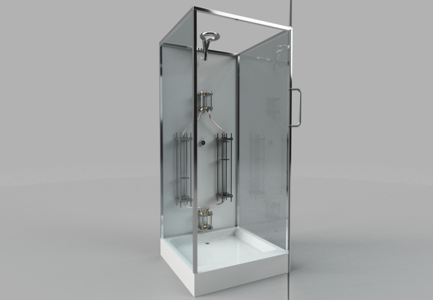 Imagem de box de vidro com um chuveiro e o sistema Showerloop instalado